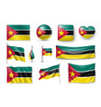 set mozambique flags banners banners symbols vector image vector image
