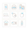 set of food icons and concepts in mono thin line vector image