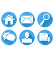 set of main round blue internet icons vector image