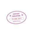 singapore airport stamp isolated icon vector image vector image