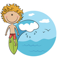 Surfer boy on the surfboard vector image