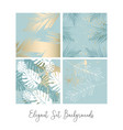 tropical worn floral pastel blue blush gold vector image vector image