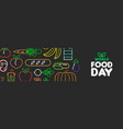 world food day web banner of outline icons vector image vector image