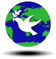 world peace symbol globe dove olive vector image