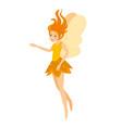 young pretty angelic yellow fairy girl vector image vector image