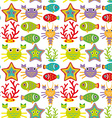 Seamless pattern with marine animals on a white vector image
