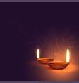 beautiful two diwali diya background vector image vector image