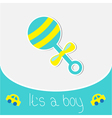 Blue rattle Baby boy shower card vector image vector image