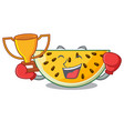 boxing winner ripe yellow watermelon isolated on vector image vector image