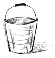 bucket drawing on white background vector image vector image