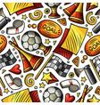 cartoon hand-drawn soccer seamless pattern vector image vector image