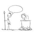 cartoon native cannibal man saying something vector image vector image