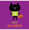 Cat with Halloween trick or treat pumpkin bucket vector image