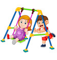 children have fun playing swings vector image vector image