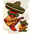 chili pepper mascot wearing mexican outfit vector image vector image