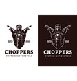 chopper biker with skeleton skull logo vector image