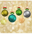 christmas balls with red ribbons and elements of vector image
