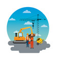 construction workers loading machine mixer vector image