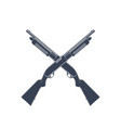 crossed shotguns isolated on white vector image vector image