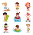 cute cartoon kids playing at the beach set boys vector image vector image