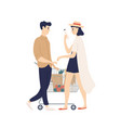 cute funny young couple with shopping cart buying vector image vector image
