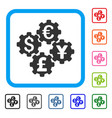 financial gears framed icon vector image vector image
