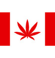 flag of canada with a leaf of marijuana as the vector image