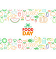 food day card of outline fruit and vegetable icons vector image vector image
