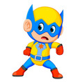 funny little power super hero child vector image vector image