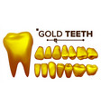 golden tooth metal gold human teeth vector image