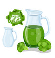 green vegetable juice smoothie glass tumbler vector image