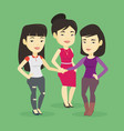 group of business women joining hands vector image