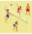 Group young Friends Playing Volleyball On Beach vector image