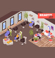 hairdressing isometric background vector image