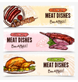 Hand Drawn Meat Horizontal Banners vector image vector image