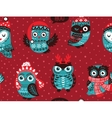 Hand drawn winter background with Christmas Owls vector image vector image