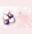 happy valentines day background with 3d realistic vector image