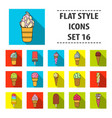 ice cream set icons in flat style big collection vector image vector image