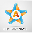 letter a logo symbol in the colorful star on grey vector image vector image