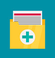 medical files icon in flat style vector image vector image