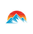 mountain icon nature sun logo image vector image vector image