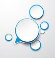 Paper white-blue round speech bubbles vector image vector image