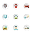 Parking area icons set flat style