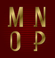 presentable gold font m n o p isolated letters vector image vector image