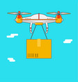 quadcopter aerial drone delivery of cargo vector image