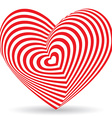 Red heart on a white background Optical of 3D vector image vector image