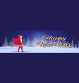 santa claus carrying gift box sack happy new year vector image vector image