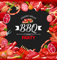sausage and meat frame bbq party butcher shop vector image vector image