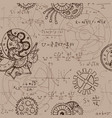 seamless background with math formulas and cogs vector image vector image