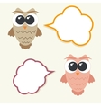 set og talking owls with speech bubbles vector image vector image